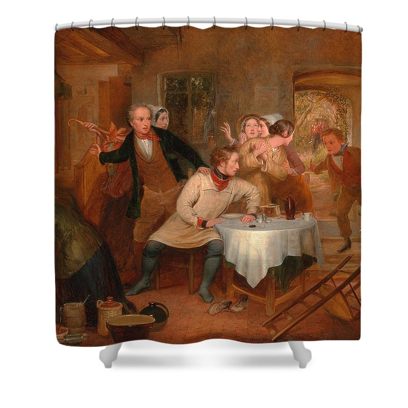 Richard Redgrave Shower Curtain featuring the painting The Deserter's Home by Richard Redgrave