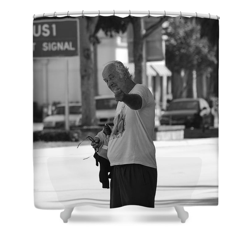 Black And White Shower Curtain featuring the photograph The Devil Man by Rob Hans
