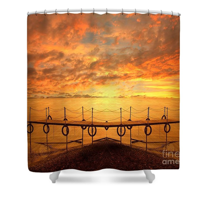 Waterscape Shower Curtain featuring the photograph The Dock by Jacky Gerritsen