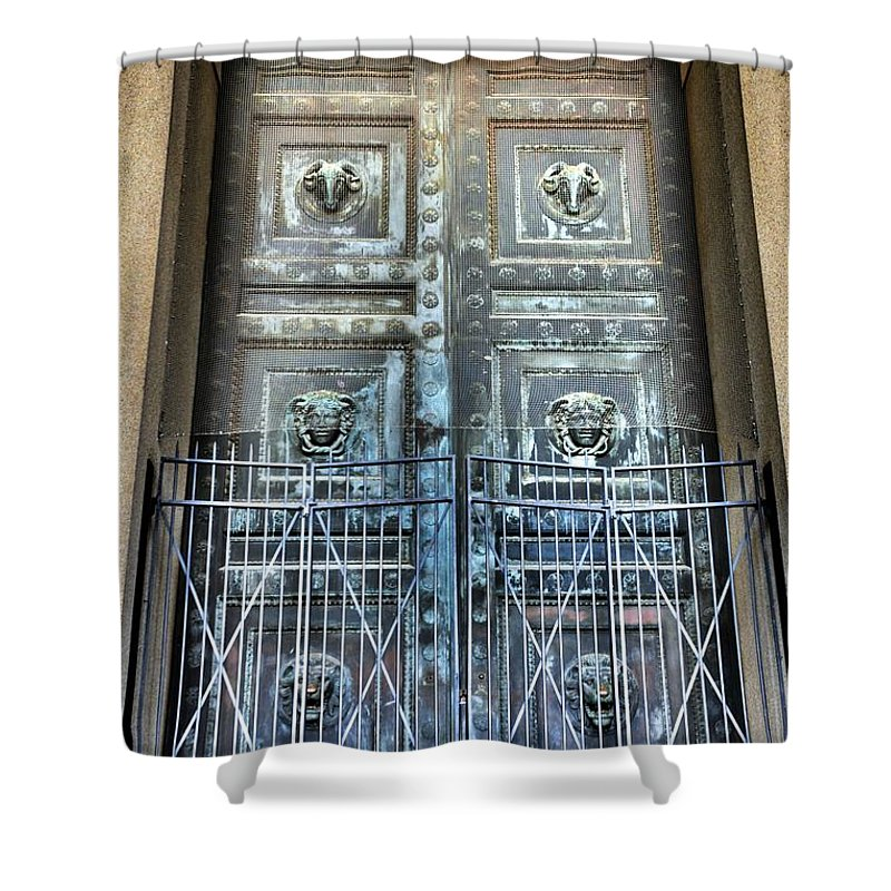 The Door At The Parthenon In Nashville Tennessee Shower Curtain featuring the photograph The Door At The Parthenon In Nashville Tennessee by Lisa Wooten