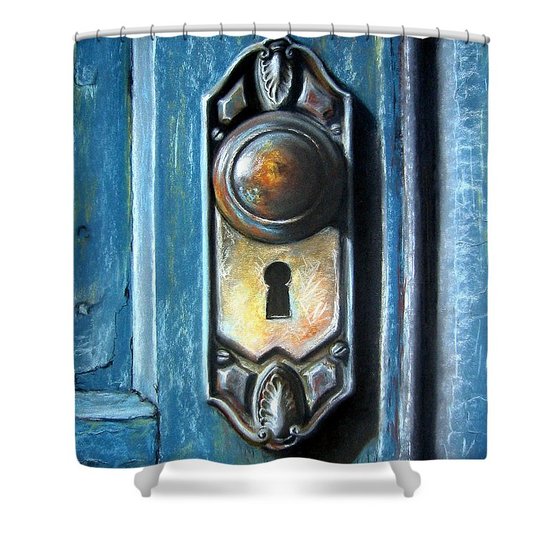 Door Knob Shower Curtain featuring the painting The Door Knob by Leyla Munteanu
