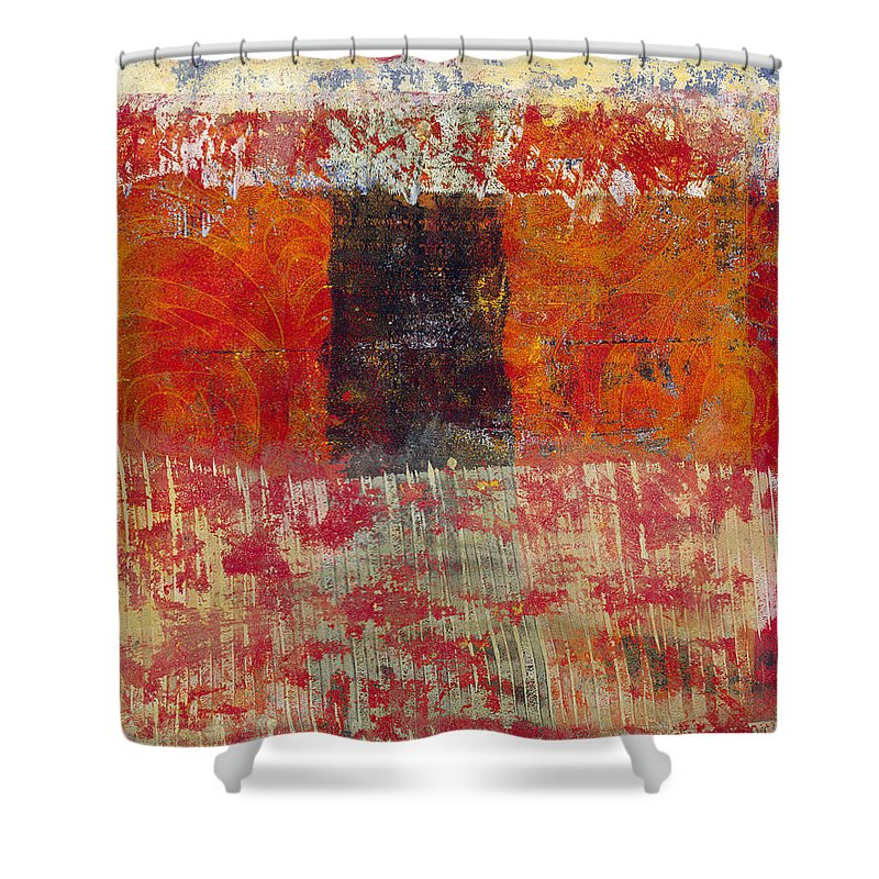 Abstract Shower Curtain featuring the painting The Door by Laurel Englehardt