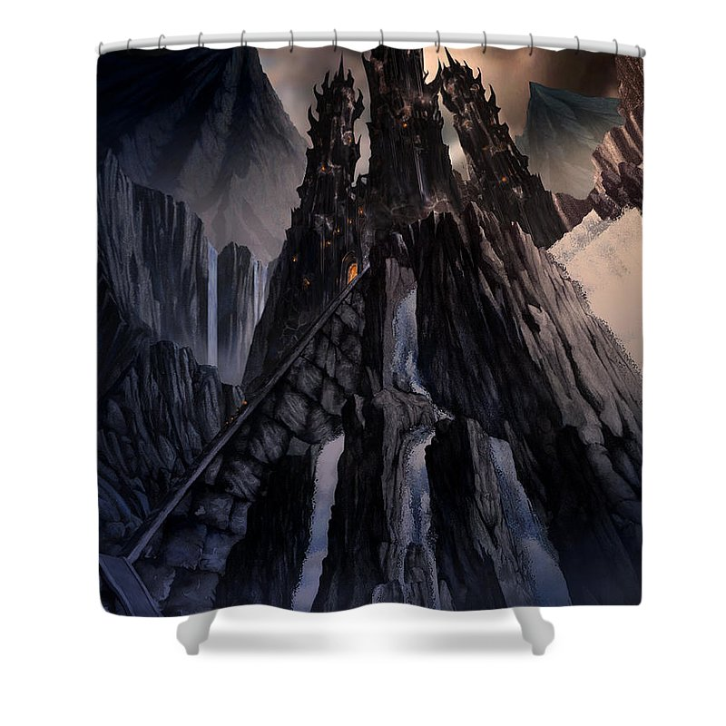Architectural Shower Curtain featuring the mixed media The Dragon Gate by Curtiss Shaffer