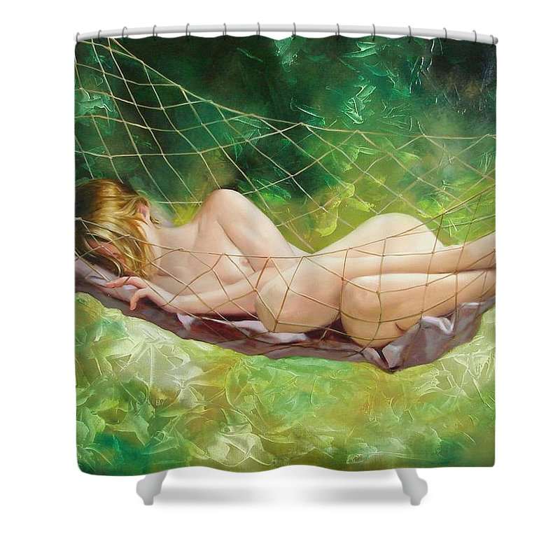 Oil Shower Curtain featuring the painting The Dream In Summer Garden by Sergey Ignatenko