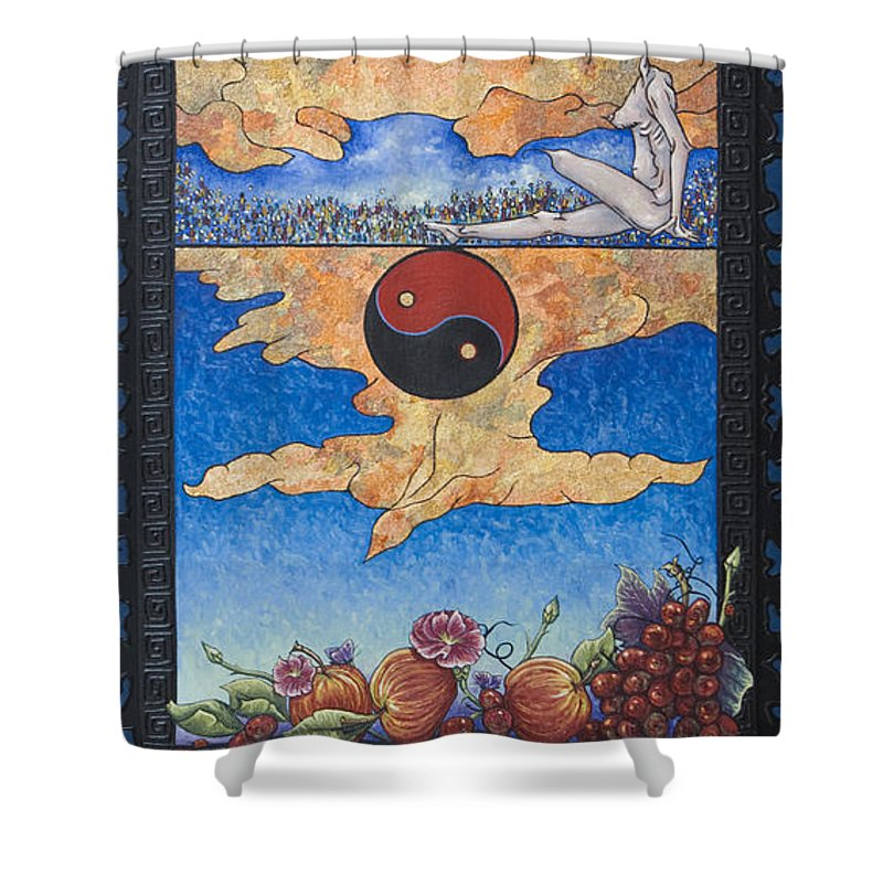 Karma Shower Curtain featuring the painting The Dream by Judy Henninger
