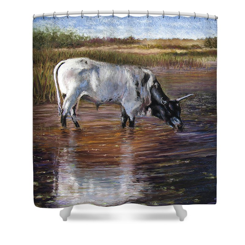 Cow Shower Curtain featuring the pastel The Drink by Susan Jenkins