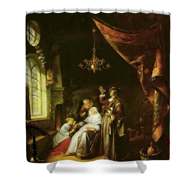 The Shower Curtain featuring the painting The Dropsical Woman by Dou Gerrit