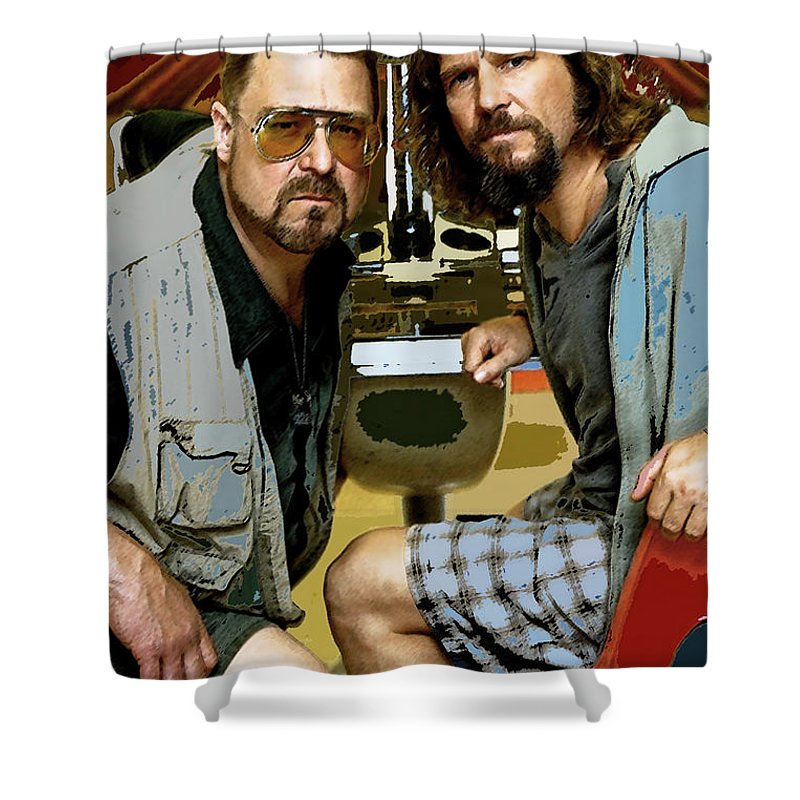 The Dude Abides Mixed Media Shower Curtains