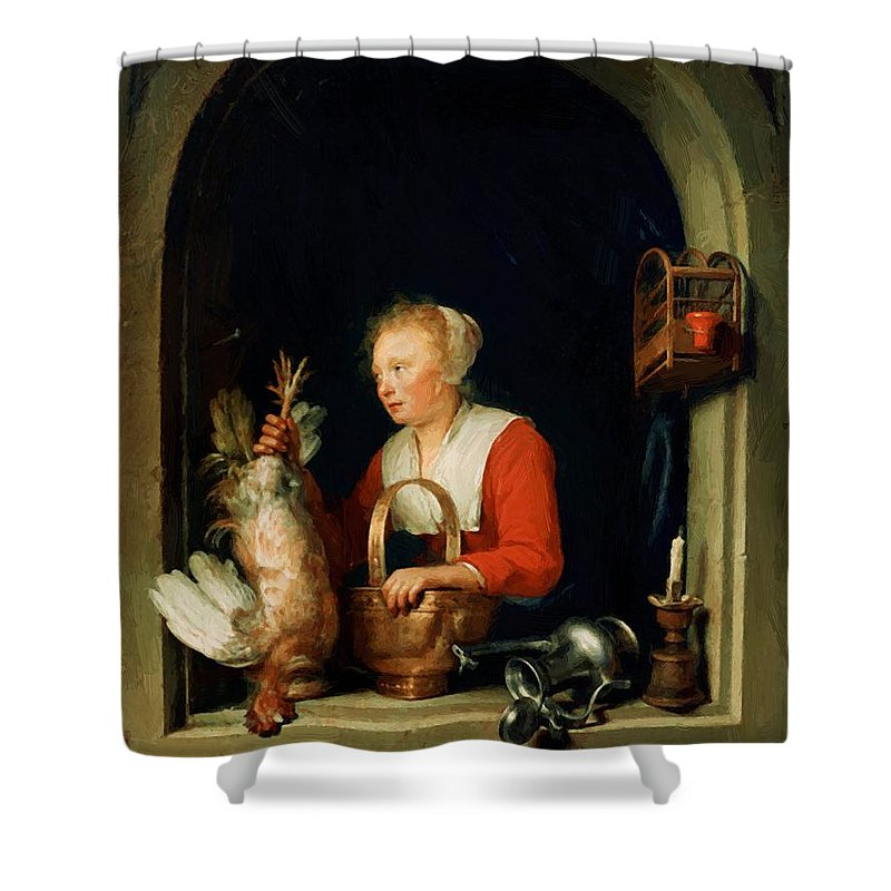 The Shower Curtain featuring the painting The Dutch Housewife Or The Woman Hanging A Cockerel In The Window 1650 by Dou Gerrit