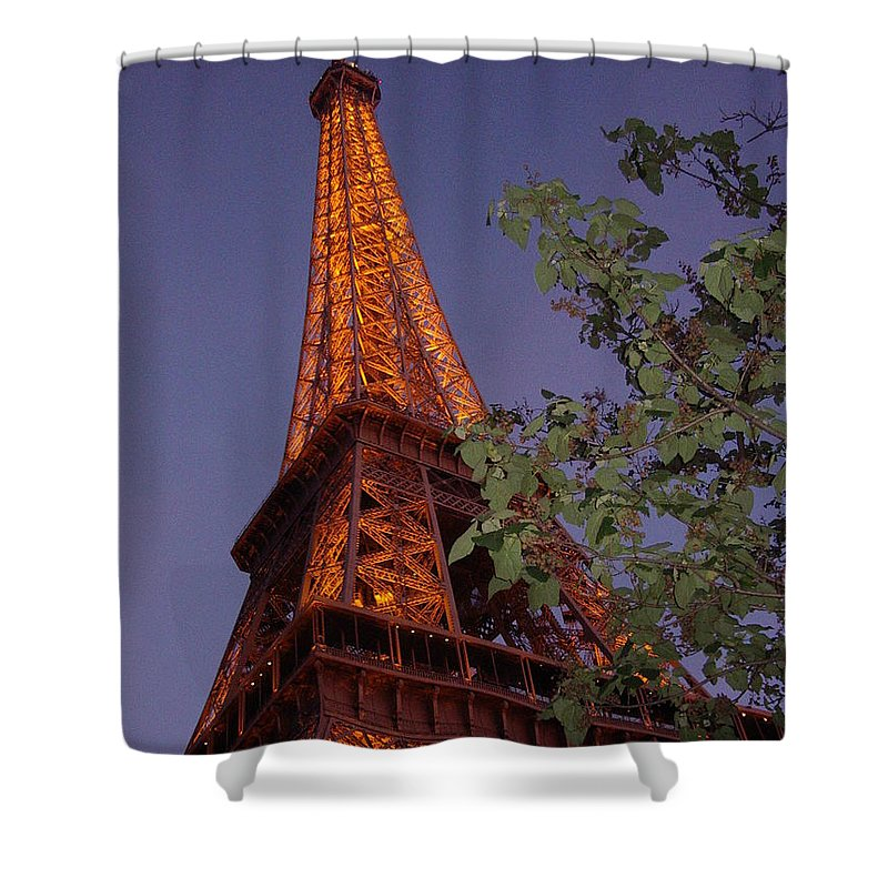 Tower Shower Curtain featuring the photograph The Eiffel Tower Aglow by Nadine Rippelmeyer