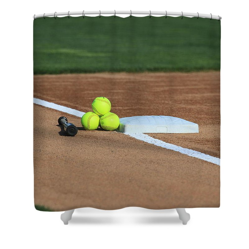 Softball Shower Curtain featuring the photograph The Elements by Laddie Halupa
