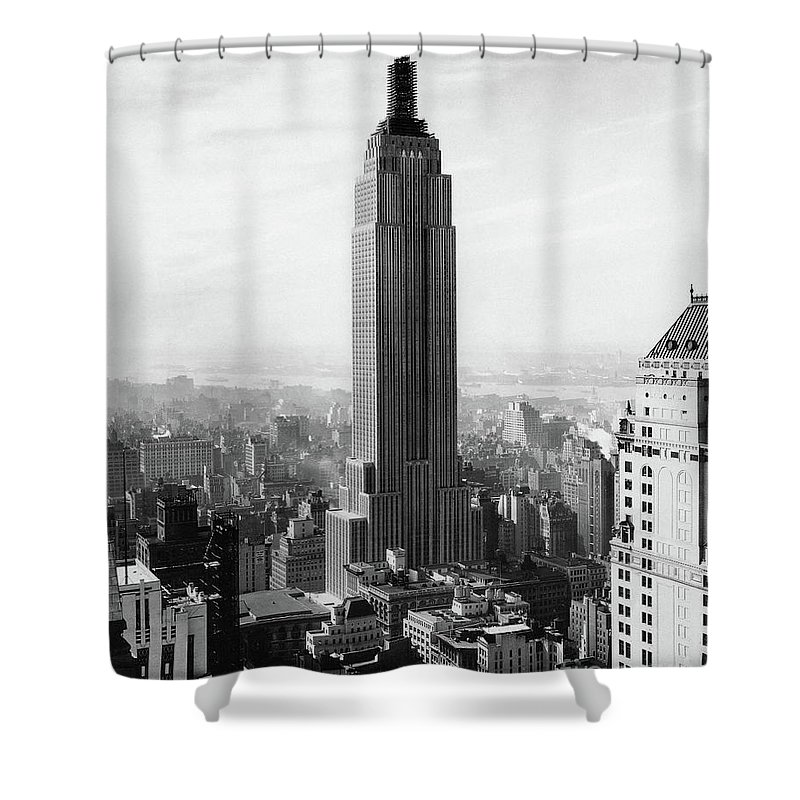 The Empire State Building Under Construction Shower Curtain For Sale By Jon Neidert