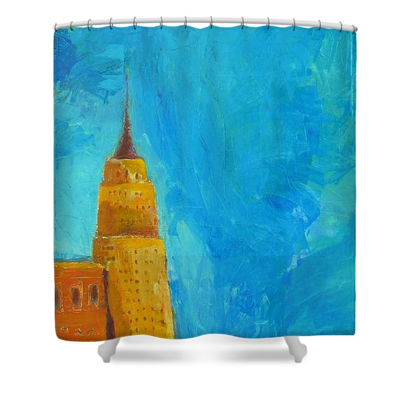 Abstract Cityscape Shower Curtain featuring the painting The Empire State by Habib Ayat