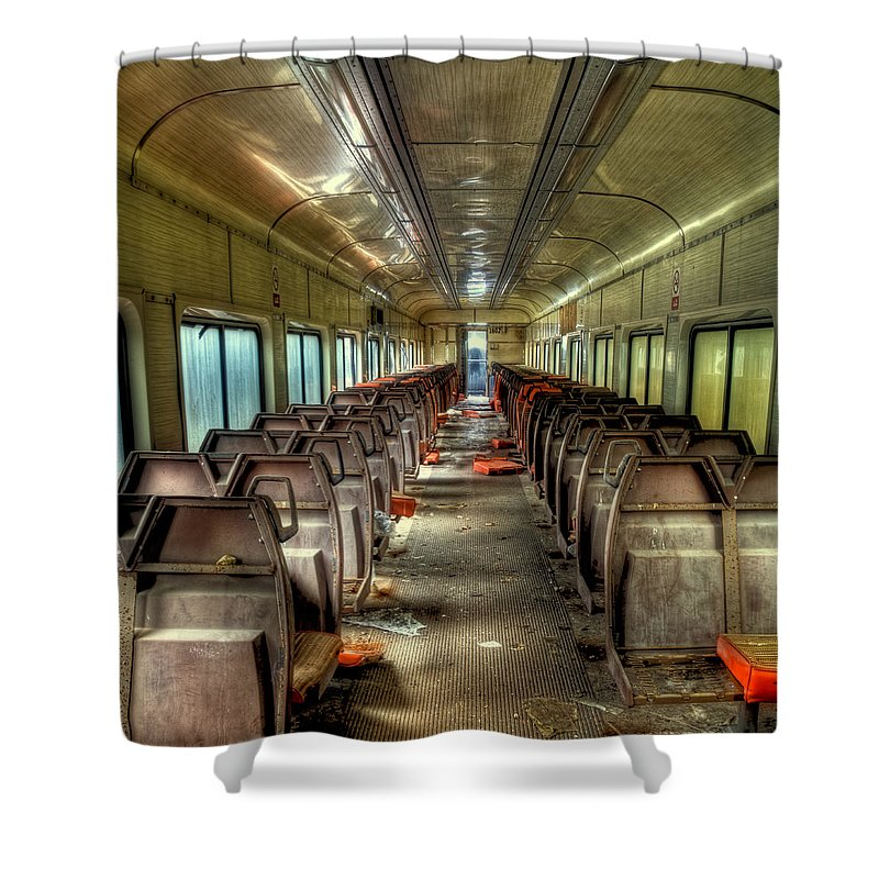 The End Of The Line Shower Curtain featuring the photograph The End Of The Line by David Patterson