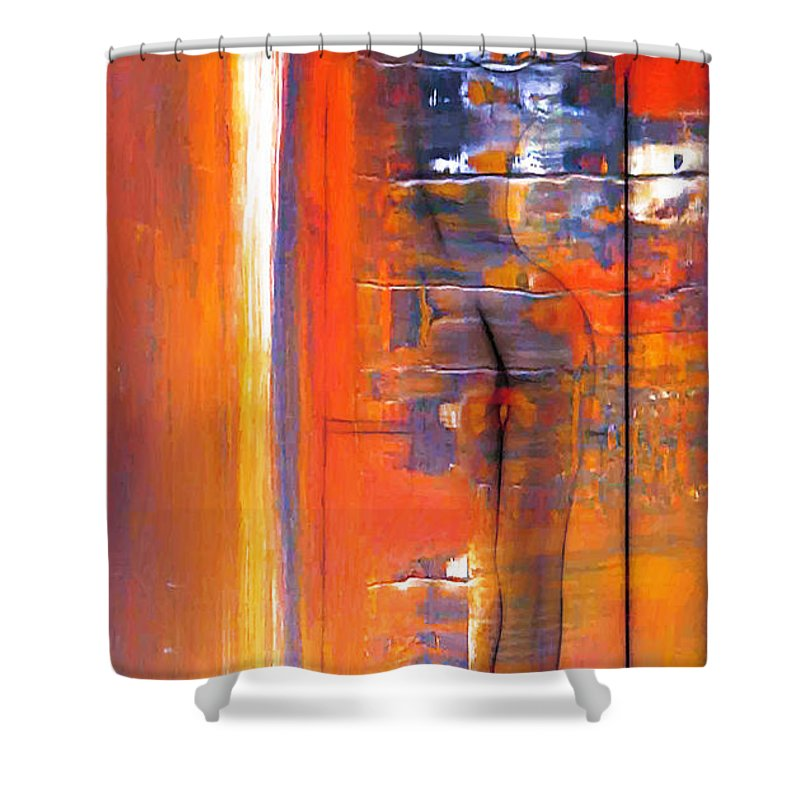 Dark Shower Curtain featuring the painting The Escape by Steve K