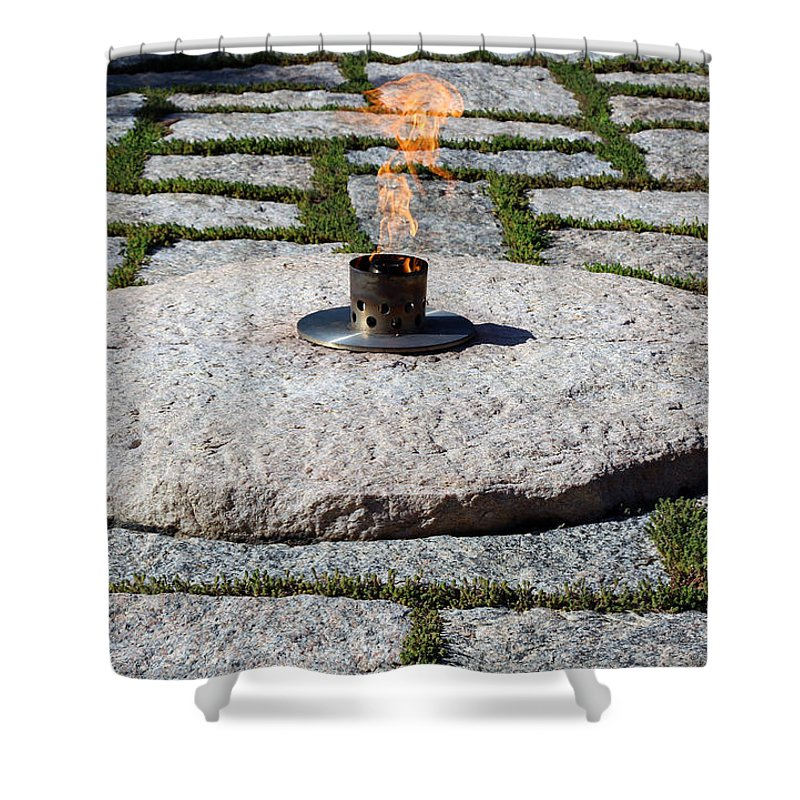 Eternal Shower Curtain featuring the photograph The Eternal Flame At President John F. Kennedy's Grave by Cora Wandel