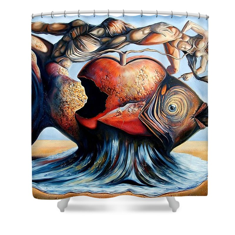 Surrealism Shower Curtain featuring the painting The Eternal Question Of Time by Darwin Leon