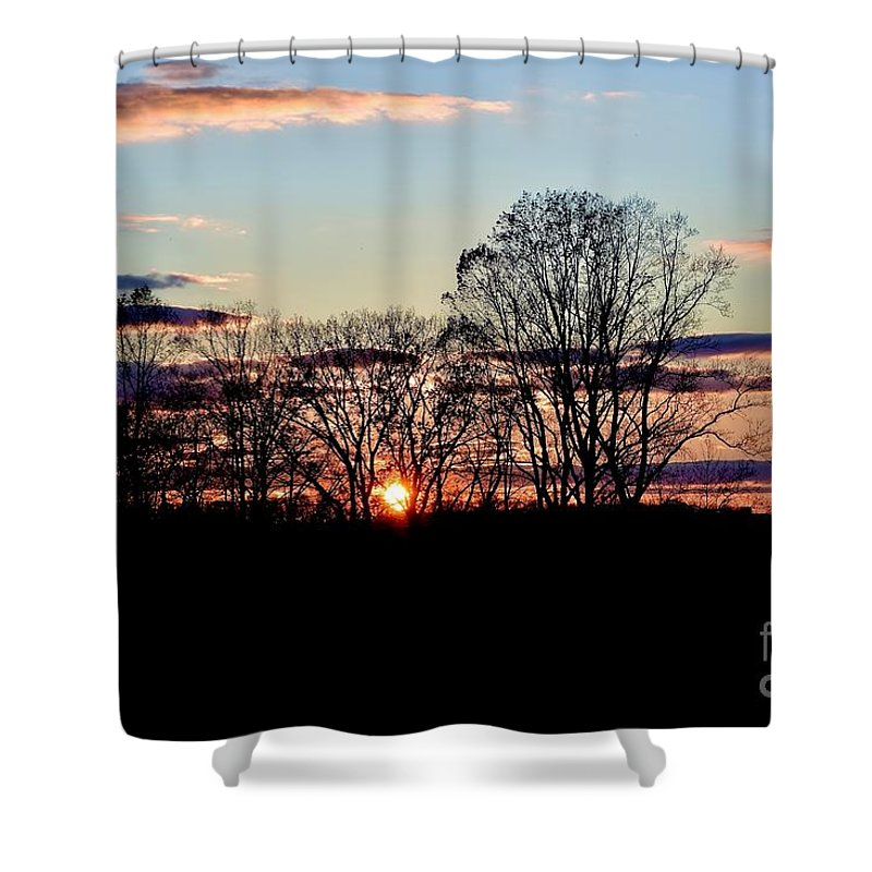Amazing Sunset Shower Curtain featuring the photograph The Evening Sky by Jeramey Lende