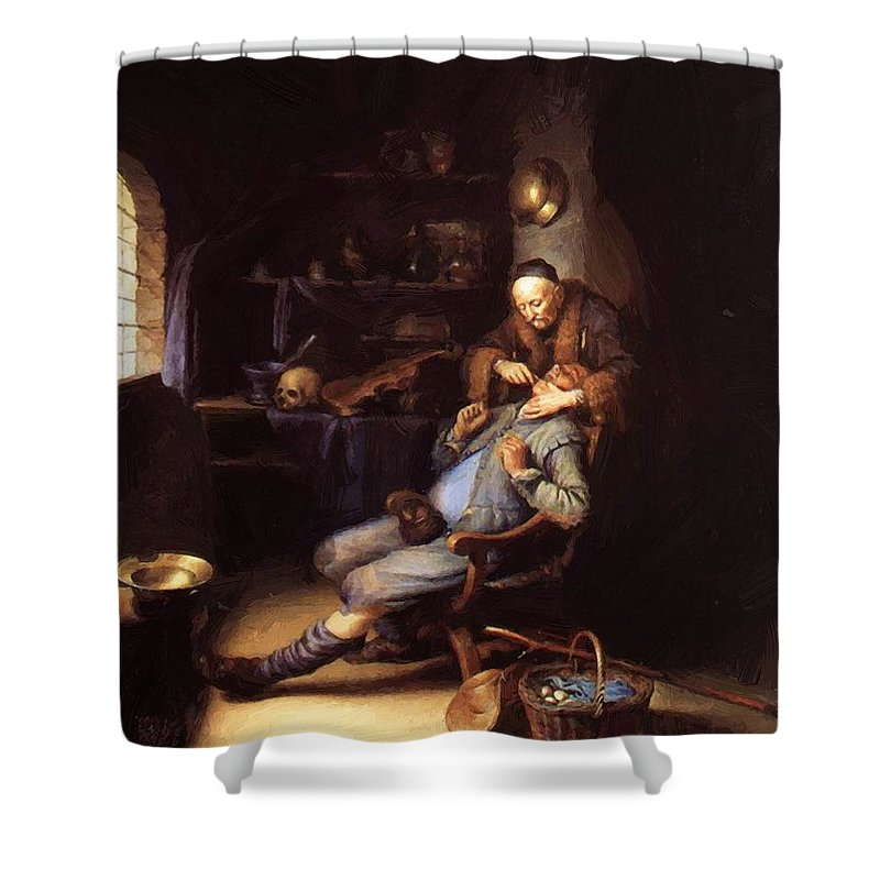 The Shower Curtain featuring the painting The Extraction Of Tooth 1635 by Dou Gerrit