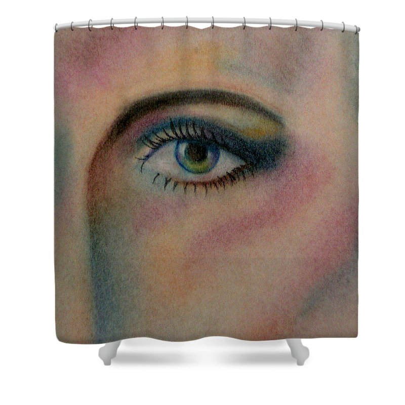 Eye Shower Curtain featuring the pastel The Eye by Belinda Buckler
