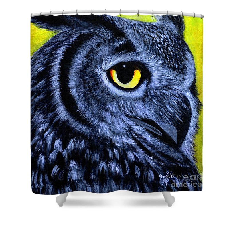 Owl Series Acrylic Paintings Shower Curtain featuring the painting The Eye Of The Owl -the Goobe Series by Pavitha Ashwin