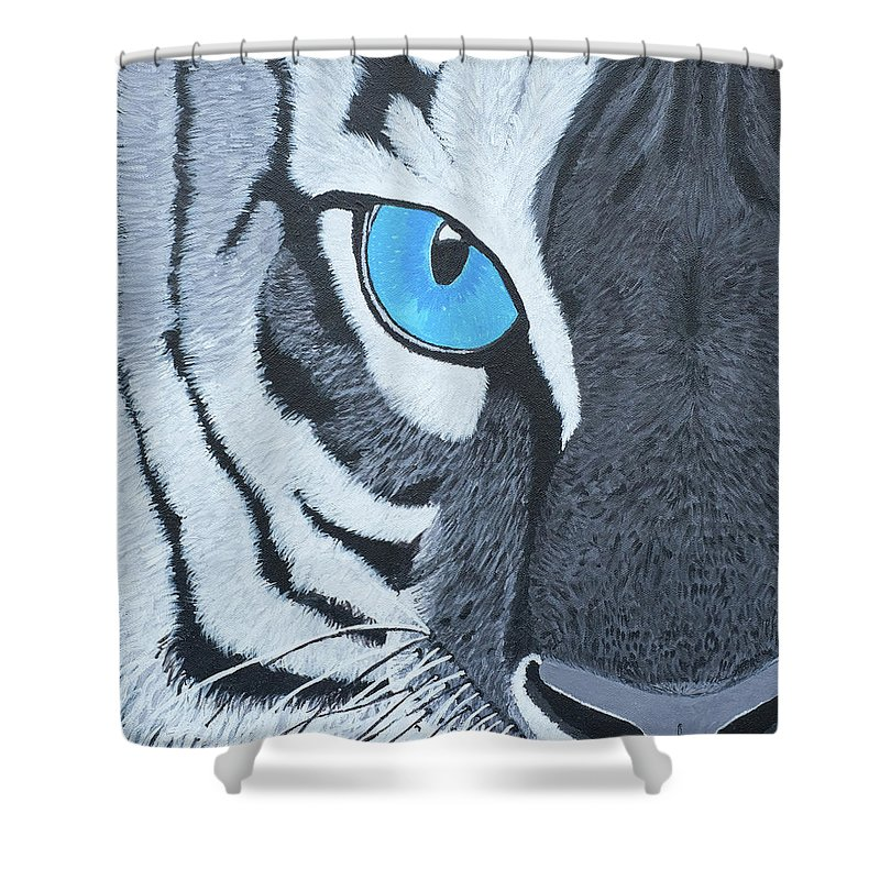 Realism Painting-tiger Shower Curtain featuring the painting The Eye Of The Tiger by Samantha Zaltowski