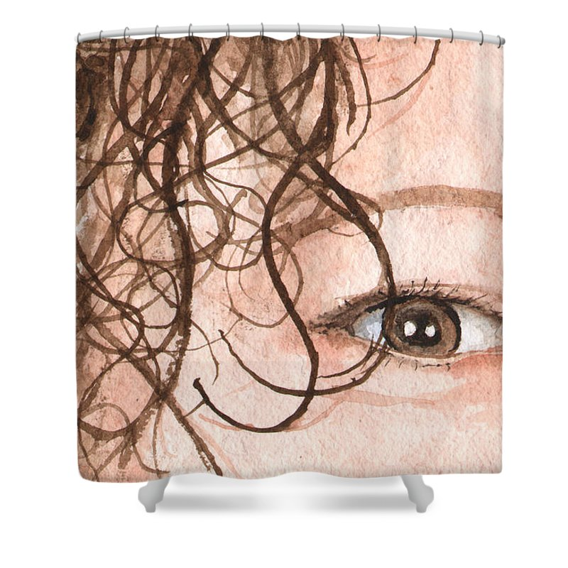 Eyes Shower Curtain featuring the painting The Eyes Have It - Stacia by Sam Sidders