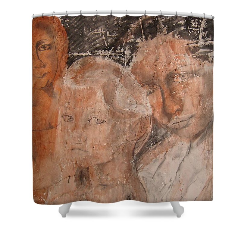 Beautiful Shower Curtain featuring the drawing The Eyes of Alianna by J Bauer