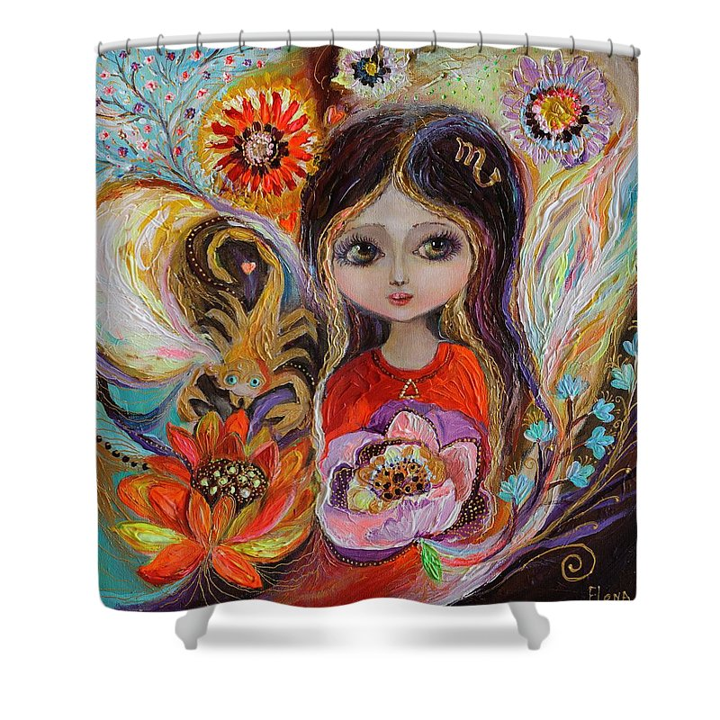 Portrait Shower Curtain featuring the painting The Fairies Of Zodiac Series - Scorpio by Elena Kotliarker