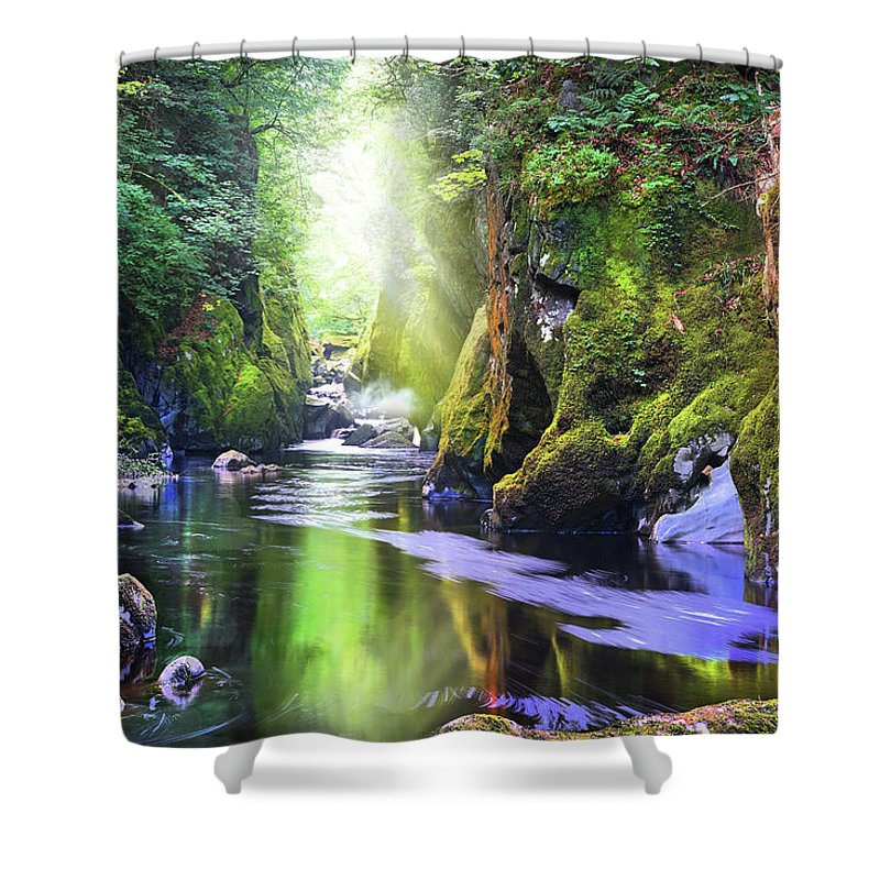 Gorge Shower Curtain featuring the photograph The Fairy Glen Gorge River Conwy by Mal Bray