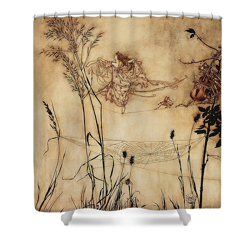 Woman Shower Curtain Featuring The Drawing Fairys Tightrope From Peter Pan In Kensington Gardens By