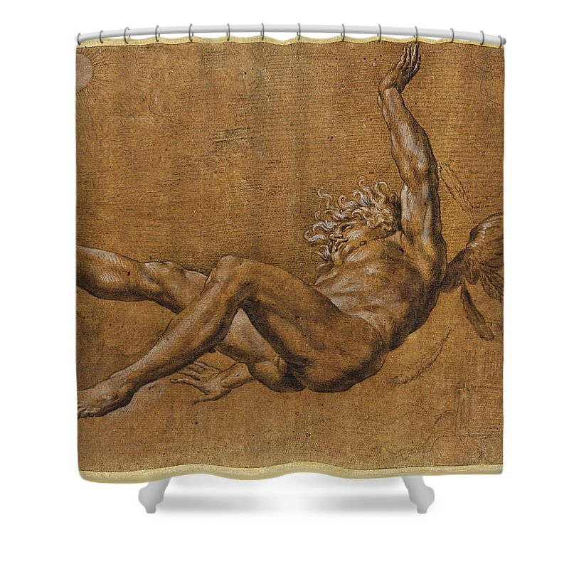 Giovanni Baglione Shower Curtain featuring the drawing The Fall Of Icarus by Giovanni Baglione