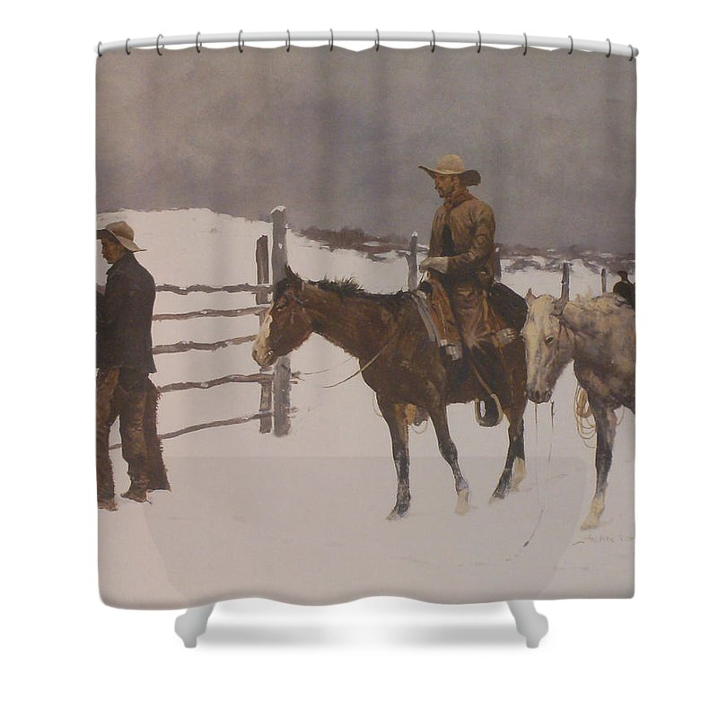 Frederic Remington Shower Curtain Featuring The Digital Art Fall Of Cowboy By