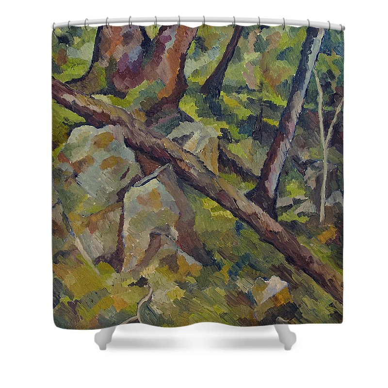 Impressionism Shower Curtain featuring the painting The Fallen Tree by Don Perino