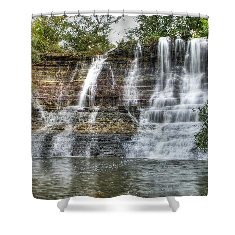 Geary State Fishing Lake Waterfall Shower Curtain Featuring The Photograph  The Falls At Geary State Fishing
