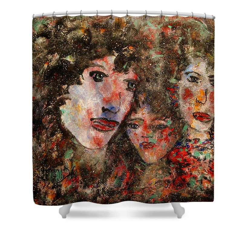 Family Shower Curtain featuring the painting The Family That Plays Together Stays Together by Natalie Holland