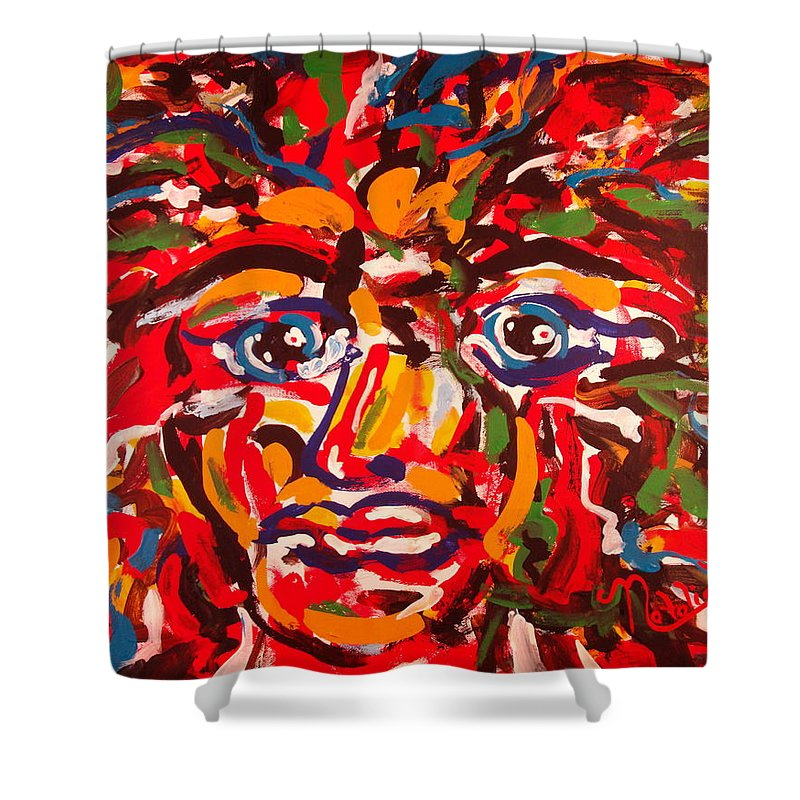 Abstract Shower Curtain featuring the painting The Fearless Warrior by Natalie Holland