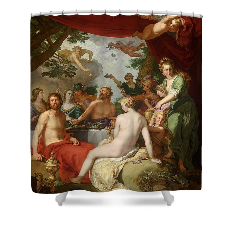 Feast Of The Gods Shower Curtain featuring the painting The Feast Of The Gods At The Wedding Of Peleus And Thetis by Abraham Bloemaert