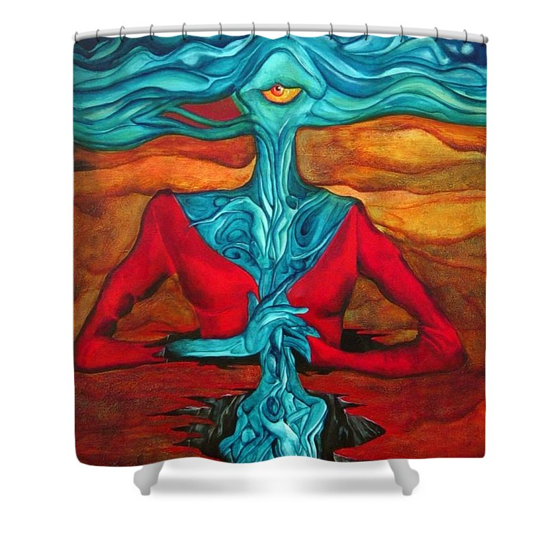 Feast Woman Blue Eye Eat Red Earth Shower Curtain featuring the painting The Feast by Veronica Jackson