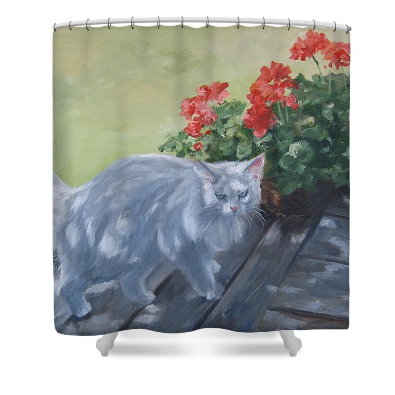 Cat Shower Curtain featuring the painting A Feral Cloud by Connie Schaertl