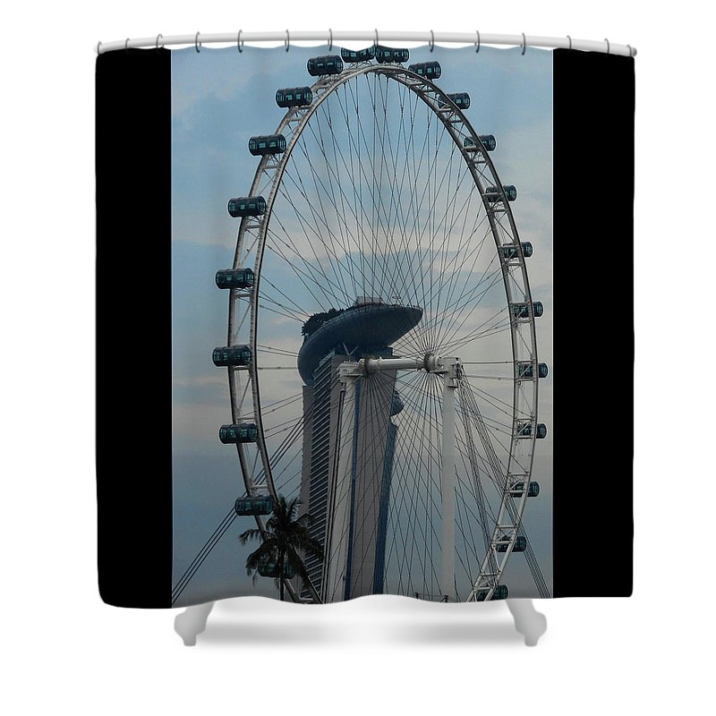 Singapore Shower Curtain featuring the photograph The Ferris Wheel 1 by Ron Kandt