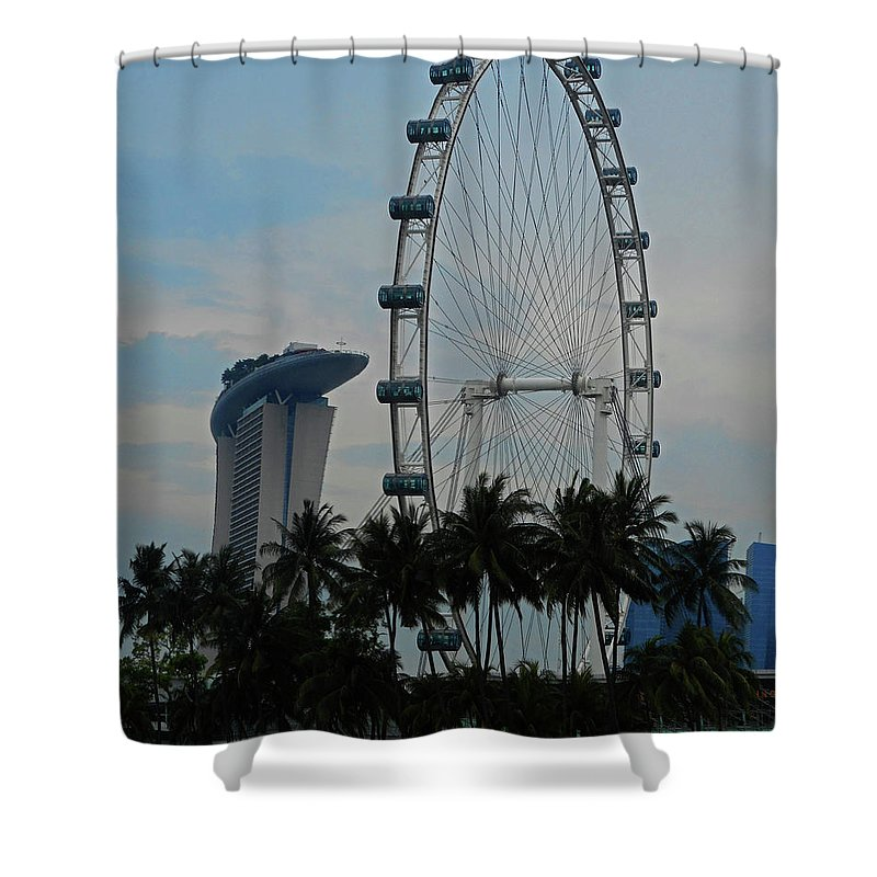 Singapore Shower Curtain featuring the photograph The Ferris Wheel 3 by Ron Kandt