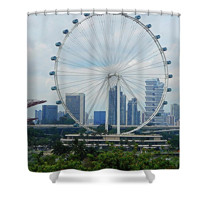 Singapore Shower Curtain featuring the photograph The Ferris Wheel 6 by Ron Kandt