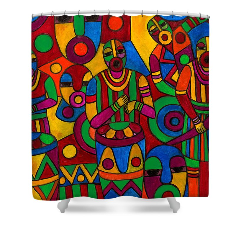 Abstract Shower Curtain featuring the painting The Festival by Emeka Okoro
