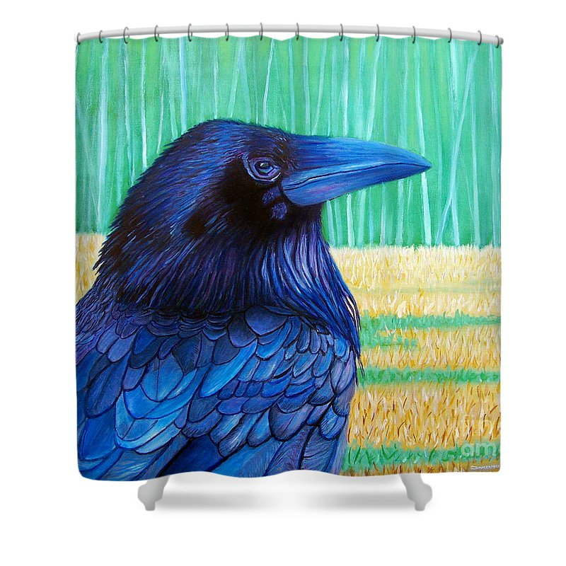 Raven Shower Curtain featuring the painting The Field Of Dreams by Brian Commerford