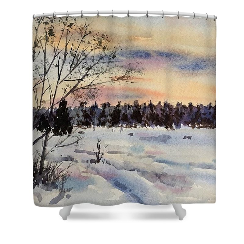 The Fields With Snow Shower Curtain featuring the painting The Fields After Snow by Ken Bao--Fine Art Spring
