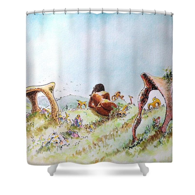 Artemis Shower Curtain featuring the painting The Fields Of Artemis by Dave Martsolf
