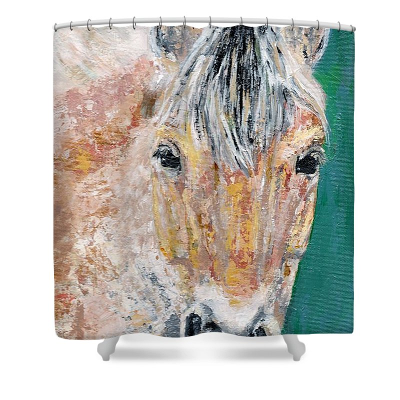 Fijord Horse Shower Curtain featuring the painting The Fijord by Frances Marino