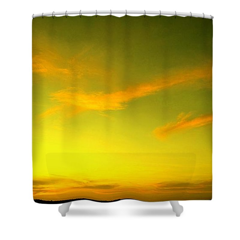 Sunset Shower Curtain featuring the photograph The Final Light Is Gold by Ian MacDonald
