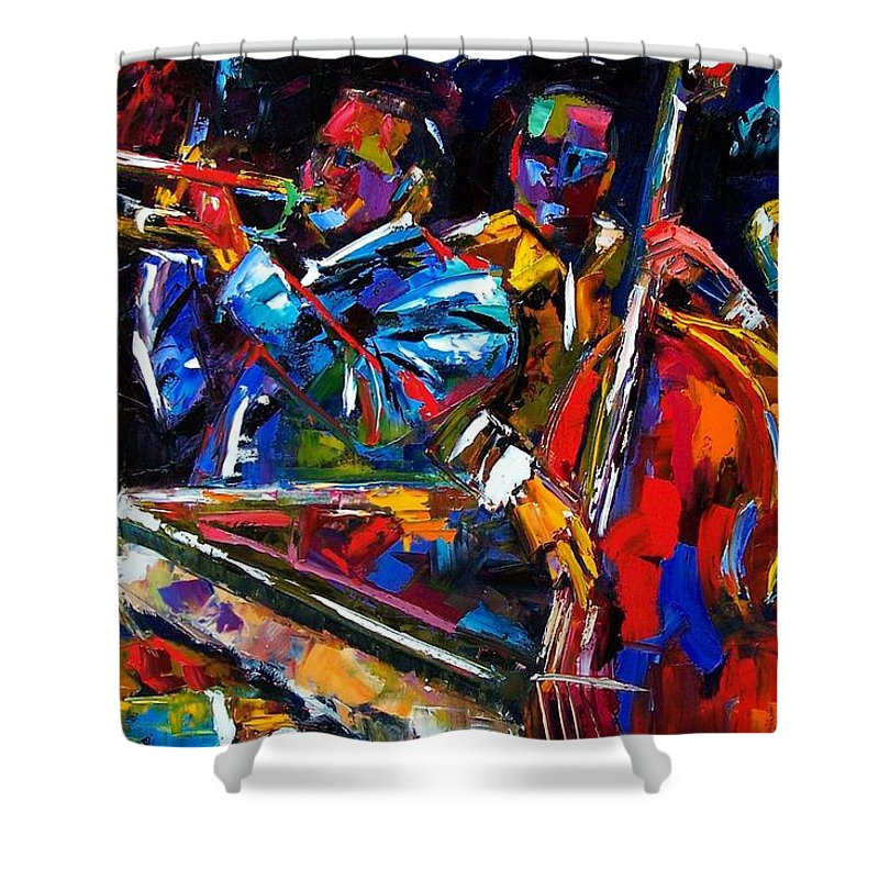 Jazz Shower Curtain featuring the painting The First Set by Debra Hurd